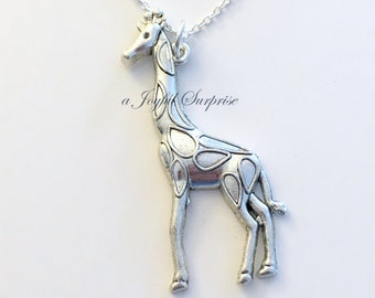 Silver Giraffe Necklace, Giraffee Jewelry Charm, Gift for Safari African Animal Silver Boy Man present Large Long Chain pewter pendant girl