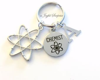 Chemist Key Chain, Gift for Science Student Keyring Chemistry Keychain Atom charm initial letter molecule personalized men women Nuclear him