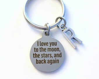 Gift for Son Keyring, I love you to the moon the stars and back again Keychain, Daughter Key chain Jewelry Initial Her Him Nephew letter Dad