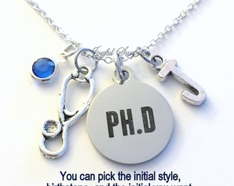 Gift for Doctor Necklace, PH D Jewelry Doctorate PHD Charm Stethoscope Personalized Initial Birthstone birthday gift Christmas present Grad