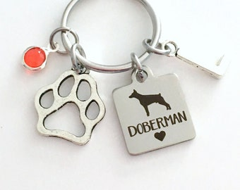 Doberman KeyChain Breeder Key Chain Gift for Dog Mom Keyring Doggie Puppy Jewelry charm Silver Initial Birthstone present Man woman Women