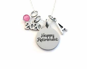 Retirement Jewelry, Women's Necklace, 2020 Gift for Best Friend Present silver her women woman men man Co-worker Co worker Coworker him