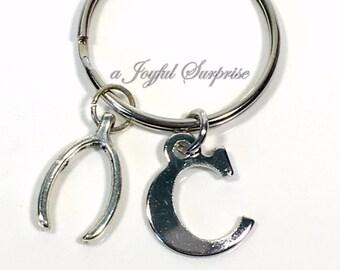 Wishbone Keyring, Good Luck Key Chain,Wish Bone KeyChain, Silver Bingo Player Good luck Charm Best Friends Good Luck Gift with initial BFF