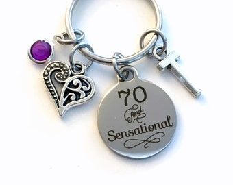 70th Birthday Gift for Mom Keychain, 70 and Sensational Key Chain Seventy her Birthstone Initial Present Jewelry Mother Women Age Fabulous