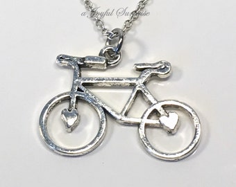 Bike Necklace, Silver Bicycle Jewelry, Gift for Cyclist Gift, Cyclist Jewelry, Large Bike Charm Necklace, Triathlon Road Racing Gift  145