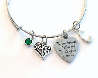 The love between a mother and her daughter is forever Jewelry, Gift for Mom Charm Bracelet Silver Bangle birthstone initial letter Present