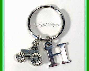 Tractor KeyChain, Farmer Keyring present, Gift for Farmer's Wife Jewelry Man Men Key chain custom with Initial Farm Equipment Pull Racer boy