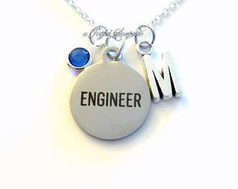 Engineer Necklace, Engineering Jewelry Gift for Aerospace Mechanical charm Personalized Custom Initial Birthstone birthday Christmas present