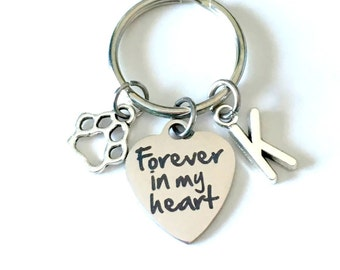 Loss of Dog Sympathy Gift, Forever in my Heart Keychain, Memorial Keyring Key Chain Purse Charm Planner Present Paw Print Canadian Shop pet