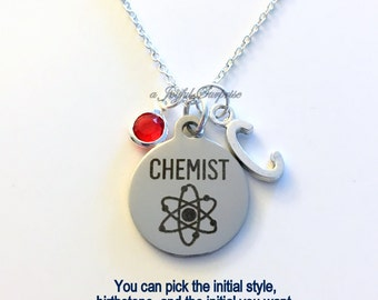 Chemist Necklace, Chemistry Science Jewelry, Gift for student Silver Charm Personalized Custom Initial Birthstone birthday Christmas present