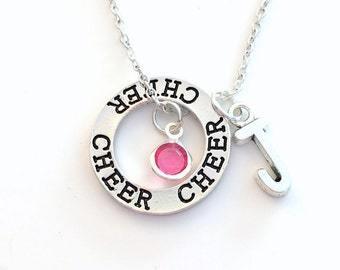 Cheerleading Necklace, Gift for Cheerleader Present, Cheer Jewelry, Circle Silver Charm initial letter birthstone Teen Girl Coach child