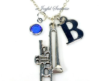Personalized Trombone Necklace, Silver Trombone Pendant Jewelry, Pewter Trombone Charm, Trombone Player Gifts, with Initial Birthstone, Band