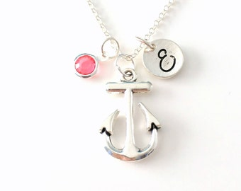Anchor Necklace, Gift for Sailor Navy Officer Wife Jewelry, Silver Marine Charm Nautical Custom initial birthstone Personalized men women