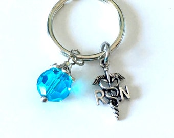 Birthstone RN Keychain, Gift for Registered Nurse Key Chain, Purse Charm Planner Keyring, 12mm Crystal Glass Faceted Dangle Charm Present