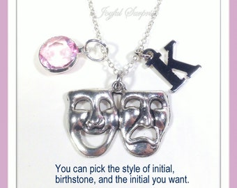 Drama Mask Necklace, Actress Jewelry, Musical Theater Actor Gifts, Silver Drama Mask Charm comedy tragedy mask Symbol initial birthstone 225