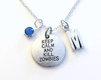 Keep calm and kill zombies Necklace, Halloween Jewelry Zombie Gift Charm Gamer Custom Initial Birthstone birthday Christmas present son boy