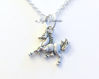 Horse Necklace, Horse Jewelry, Equine Gifts for Boy Son Teenage Daughter Girl Niece Nephew Granddaughter Running Equestrian rider present