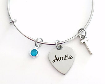 Auntie Charm Bracelet, Gift for Auntie from Niece Nephew Aunt Jewelry Bangle Pendant initial Birthstone Birthday Christmas Present New First
