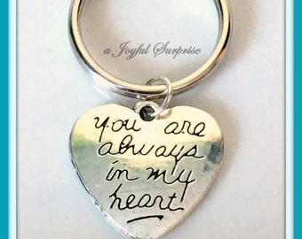 SALE -  Silver Heart Keychain, Valentines Day Gift, Special Aunt Mothers Day gifts, Long Distance Love, Mother Daughter Love keyring  78