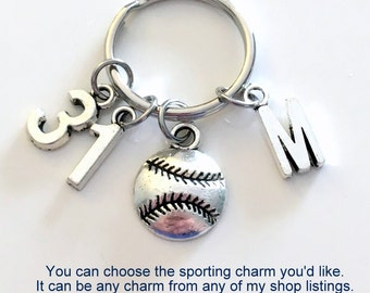 Sports keychain, Jersey Number for Baseball, Hockey, Soccer, Softball, Ringette Keyring Numbers Charm 1 2 3 4 5 6 7 8 9 10