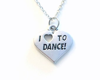 I love to Dance Jewelry, Dancer Necklace Heart Gift for Dancing Teacher, Birthday Present, Recital Initial Company for son nephew boy girl