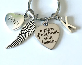 Memorial Key Chain with Wing, A piece of my heart is in Heaven Sympathy Gift Keychain Loss of Mom Dad Son Daughter Husband Wife brother