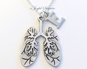 Human Lung Necklace Gift for Respiratory Jewelry Pulmonologist Specialist Pulmonary Care Practitioner man RT Letter Initial Anatomy present