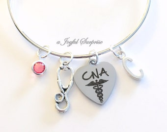 CNA Bracelet, Certified Nursing Assistance, Gift for Nurse Student Graduation Silver Charm Bangle custom personalized initial letter jewelry