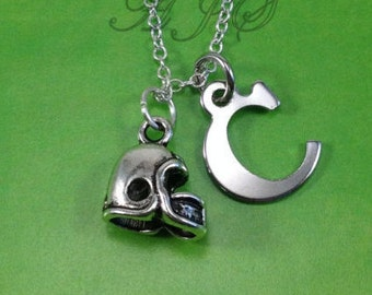 Football Necklace, Gift for Football Player Jewelry, Rugby Helmet Foot Ball Silver Charm Metal Christmas Present Man Boy initial letter 116