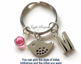 Bird KeyChain Silver Baby Bird Keyring Birdie Key chain Momma Bird Animal Gift Personalized Initial Birthstone birthday present Christmas