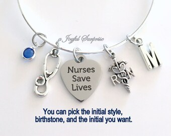 RN Charm Bracelet, Gift for RN Nurses Gift Silver Adjustable Bangle Jewelry initial Letter Registered Nurses Save Lives present Personalized