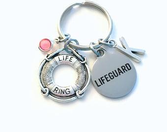 Gift for Lifeguard Keychain, Life Preserver Key Chain, Swim Instructor Birthstone Initial Present Jewelry Keyring 2017 women men her Guard