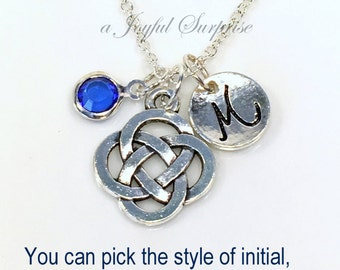 Celtic Knot Necklace Silver Celtic Jewelry Gifts Pewter Charm Circle Pendant Personalized Birthstone Initial Mother's Day present Birthday