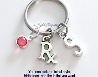 Rx Key Chain Pharmacist Keyring Pharmacy Keychain Technician Tech Assistant Prescription Custom Initial Birthstone birthday present Gift for