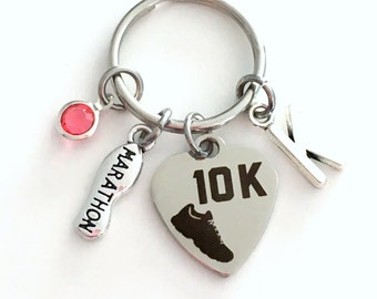 10K Marathon KeyChain, Runners Key Chain, Gift for Run Athlete Keyring Jewelry charm Silver Sneaker Present Man woman Women Men Girl Boy