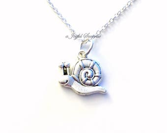 Snail Necklace, Escargot Jewelry, Gift for Animal lover Silver charm Birthday present Short Long Chain pewter Seller from PEI Canada Shop