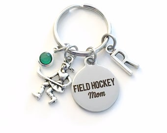 Gift for Field Hockey Mom Keychain, Mother Key Chain, Team Keyring Jewelry Initial letter present Mother's Day her girl Momma Mama Gift Idea