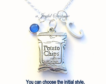Potato Chip Necklace Junk Food Jewelry Charm Gift for Boyfriend Girlfriend Bag of Chips Personalized Initial Birthstone present Joke Funny
