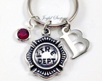 Firewoman Key Chain, Firefighter KeyChain, Fire Emblem Symbol Charm, Firemen Gift Initial birthstone Purse charm Planner man men Chief women