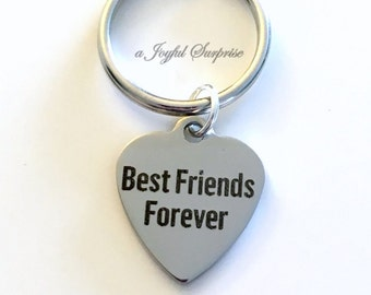 Best Friends Forever Key chain, BFF KeyChain Gift for Man Best Friend Gift, Going away present, Girlfriend Keyring Birthday Present Male Men