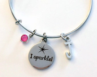 I sparkle Jewelry Charm Bracelet, Gift for Granddaughter Niece Daughter Bangle initial Birthstone Birthday Present Women girl Sister Mom