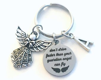Guardian Angel Key chain, New Driver Keychain, Don't drive faster than your guardian angel can fly Keyring, Gift for Daughter or Son Present