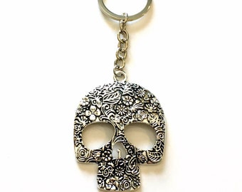 Large Skull Keychain, Mexican Sugar Skull Key Chain, Calavera Mexico Catrina Keyring Silver Jewelry present Teen Teenage Boy Man Men Girl