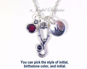 Stethoscope Necklace, Gift for Medical Professional Nurse Jewelry Silver Charm initial birthstone Seller in PEI Canada Long Short Chain 203