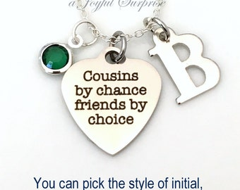 Cousins Necklace, Silver Cousin Jewelry, Best Friend Gift for Cousins Present Charm Personalized Custom Birthstone Initial Letter Short Long
