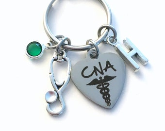 Gift for CNA KeyChain, Certified Nursing Assistant Key Chain, Nurse Keyring Personalized Initial Birthstone Birthday present her stethoscope