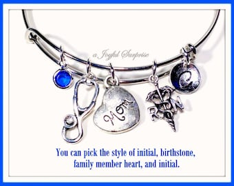 RN Gift, RN Charm Bracelet, Gift for Nurses Present, Nurses silver Jewelry, Bangle initial Birthstone Mom Aunt Grandma Niece Sister daughter