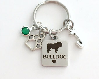 Bulldog KeyChain Bull Dog Breeder Key Chain Gift for Dog Mom Keyring Doggie Puppy Jewelry charm Silver Initial Birthstone present Man Women