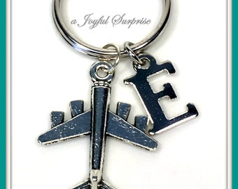 Personalized Air Force Keychain, Airplane Key Chain, Fighter Pilot's Keyring, Air Force Gifts Silver Plane KeyChain Charm with Initial 138