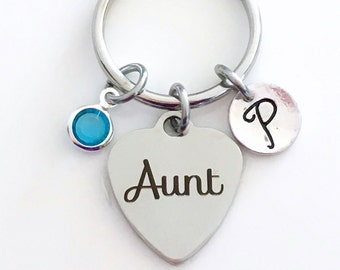 Aunt Keychain, Aunt Key Chain, Gift for Aunt Gift, Aunt Keyring, Favorite Aunt, Special Auntie, New Aunt Birthstone Initial Personalized